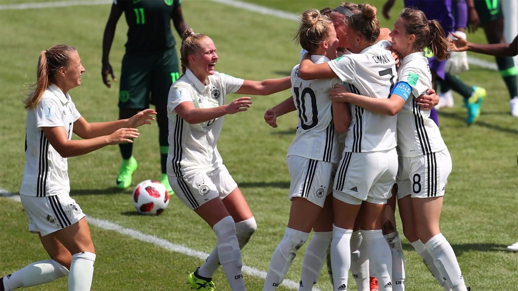 Stefanie Sanders of Germany celebrates with her team mates after she scores her teams first goal during the FIFA U-20 Women's World Cup France 2018 group D match between Nigeria and Germany at on August 6, 2018 in Saint-Malo, France. Getty Images