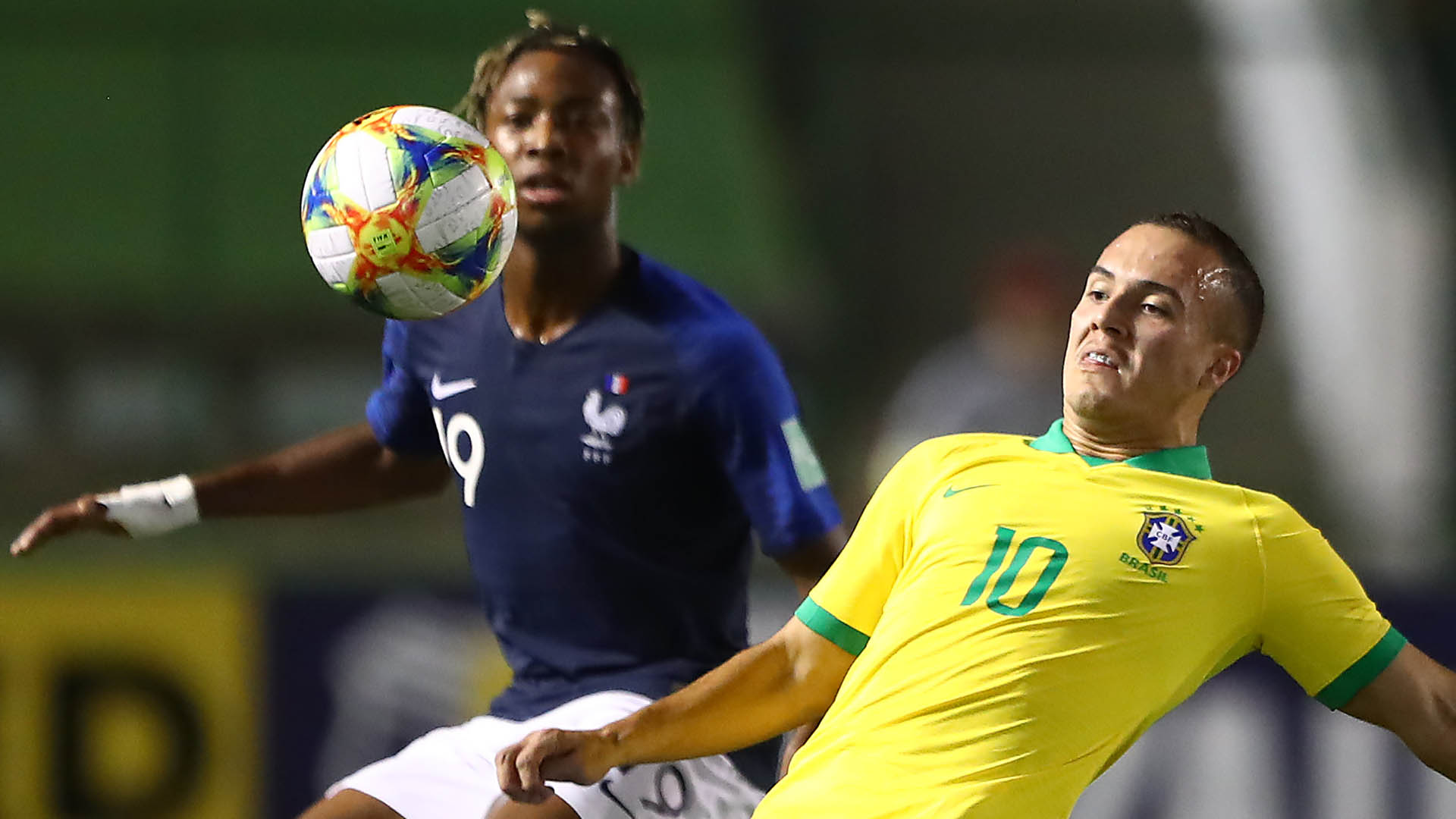 Peglow of Brazil in action during the FIFA U-17 World Cup Brazil 2019 semi-final match between France and Brazil at Estadio Bezerrao on November 14, 2019 in Brasilia, Brazil. (Photo by Martin Rose - FIFA/FIFA via Getty Images)