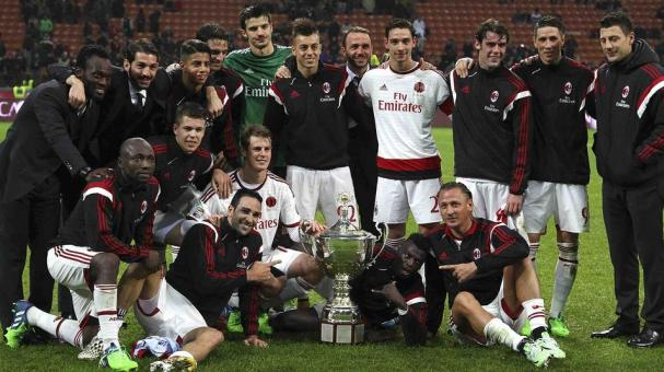 The players of the AC Milan celebrate a victory at the end of the Luigi Berlusconi Trophy at Stadio Giuseppe Meazza on November 5, 2014 in Milan, Italy.  Getty Images