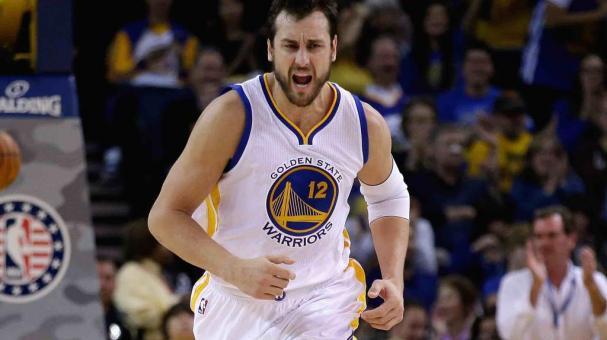Andrew Bogut #12 of the Golden State Warriors reacts after making a basket. (Photo by Ezra Shaw/Getty Images)