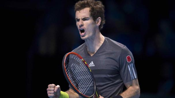 Andy Murray of Great Britain celebrates winning a point during his round robin singles match against Milos Raonic of Canada on day three of the Barclays ATP World Tour Finals at the O2 Arena on November 11, 2014 in London, England (Getty Images)
