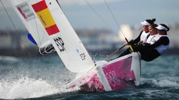 Tamara Echegoyen Dominguez, Sofia Toro Prieto Puga and Angela Pumariega Menendez of Spain compete in Weymouth, England. (Photo by Laurence Griffiths/Getty Images)