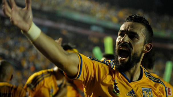 Hercules Gomez of Tigres reacts during a match between Tigres UANL v Santos Laguna in Monterrey, Mexico. (Photo Getty Images)