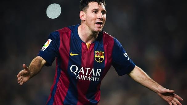 Lionel Messi of FC Barcelona celebrates after scoring his team's fourth goal during the La Liga match between FC Barcelona and Sevilla FC at Camp Nou on November 22, 2014 in Barcelona. Getty Images