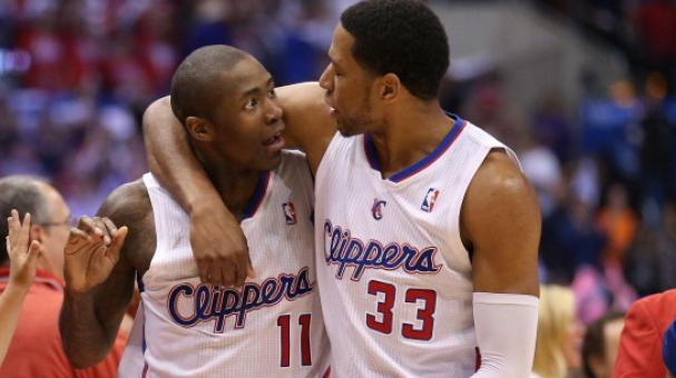 Jamal Crawford #11 and Danny Granger #33 of the Los Angeles Clippers celebrate. (Photo by Stephen Dunn/Getty Images)