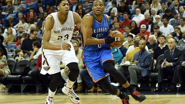 Russell Westbrook #0 of the Oklahoma City Thunder drives around Anthony Davis #23 of the New Orleans Pelicans during the second quarter of a game at the Smoothie King Center on December 2, 2014 in New Orleans, Louisiana. Getty Images
