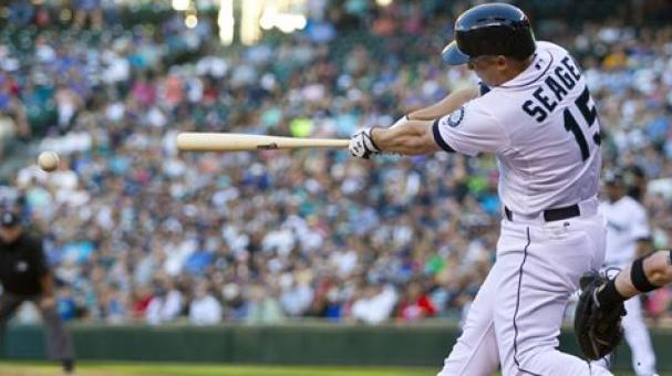 Seattle Mariners' Kyle Seager hits an RBI double against the Chicago White Sox during the fourth inning of a baseball game in Seattle.  (AP Photo/John Froschauer, File)