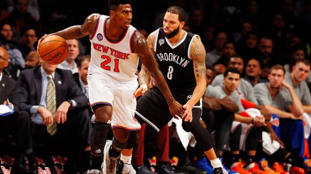 Iman Shumpert #21 of the New York Knicks in action against Deron Williams #8 of the Brooklyn Nets at Barclays Center on November 7, 2014 in the Brooklyn borough of New York City. Getty Images