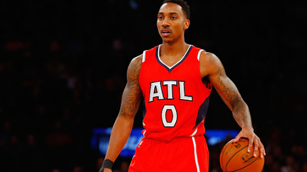Jeff Teague #0 of the Atlanta Hawks in action at Madison Square Garden. (Photo by Jim McIsaac/Getty Images)