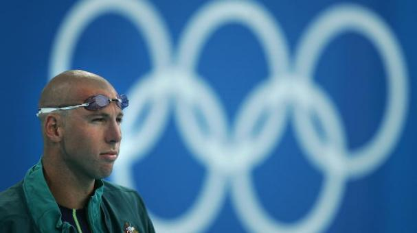 Grant Hackett of Australia is seen before the men's swimming 200 metre freestyle final on August 16, 2004 during the Athens 2004 Summer Olympic Games at the Main Pool of the Olympic Sports Complex Aquatic Centre in Athens, Greece. (Getty Images)