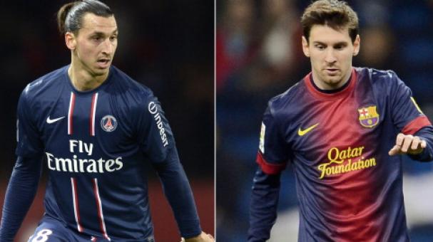Combination of two recent pictures made on March 29, 2013 shows Paris Saint-Germain's Swedish forward Zlatan Ibrahimovic (L) and Barcelona's Argentinian midfielder Lionel Messi. PSG and FC Barcelona. Getty Images
