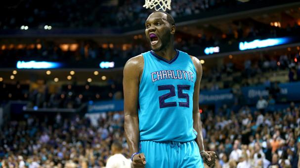 Al Jefferson #25 of the Charlotte Hornets reacts after a play during their game against the Milwaukee Bucks at Time Warner Cable Arena on October 29, 2014 in Charlotte, North Carolina. Getty Images