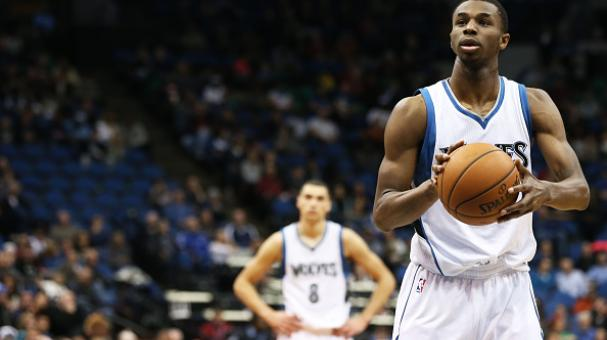 Andrew Wiggins #22 of the Minnesota Timberwolves takes a free throw against the Portland Trail Blazers on December 10, 2014 at Target Center in Minneapolis, Minnesota. Getty Images