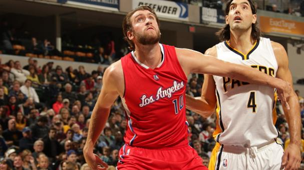 Spencer Hawes #10 of the Los Angeles Clippers battles for position with Luis Scola #4 of the Indiana Pacers on December 10, 2014 at Bankers Life Fieldhouse in Indianapolis, Indiana. Getty Images