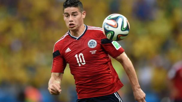 Colombia's midfielder James Rodriguez controls the ball during the quarter-final football match between Brazil and Colombia at the Castelao Stadium in Fortaleza during the 2014 FIFA World Cup on July 4, 2014. Getty Images