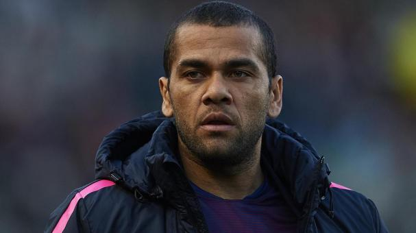 Dani Alves of Barcelona looks on prior to the start of the La Liga match between Elche FC and FC Barcelona at Estadio Manuel Martinez Valero on January 24, 2015 in Elche, Spain. (Getty Images)