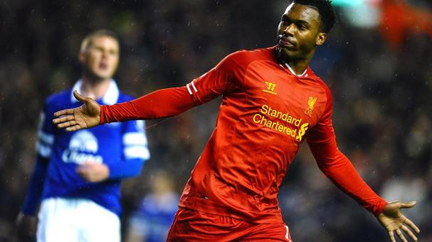 Daniel Sturridge of Liverpool celebrates after scoring his team's second goal during the Barclays Premier League match between Liverpool and Everton at Anfield on January 28, 2014 in Liverpool, England. (Getty Images)