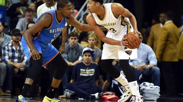 Anthony Davis #23 of the New Orleans Pelicans is defended by Kevin Durant #35 of the Oklahoma City Thunder during a game at the Smoothie King Center in New Orleans, Louisiana. Getty Images