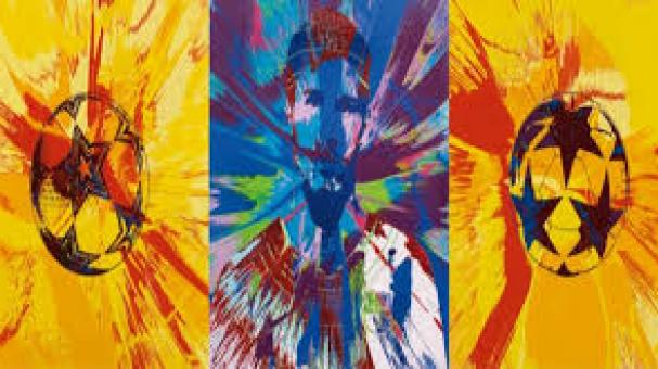"""""""Beautiful Messi Spin Painting for One in Eleven"""", obra del artista británico Damien Hirst."""