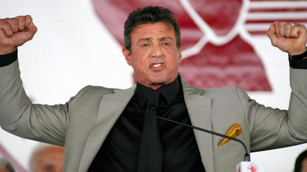 Sylvester Stallone gives a 'Yo Adrienne' during the 2011 International Boxing Hall of Fame Inductions at the International Boxing Hall of Fame on June 12, 2011 in Canastota, New York. Stallone was a 2011 inductee. Getty Images