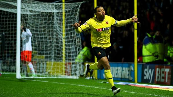 Troy Deeney of Watford celebrates scoring the first goal during the Sky Bet Championship match between Watford and Fulham at Vicarage Road on March 3, 2015 in Watford, England. (Getty Images)