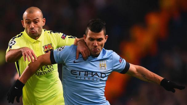 Javier Mascherano of Barcelona and Sergio Aguero of Manchester City battle for the ball during the UEFA Champions League Round of 16 match between Manchester City and Barcelona at Etihad Stadium on February 24, 2015 in Manchester. Getty Images