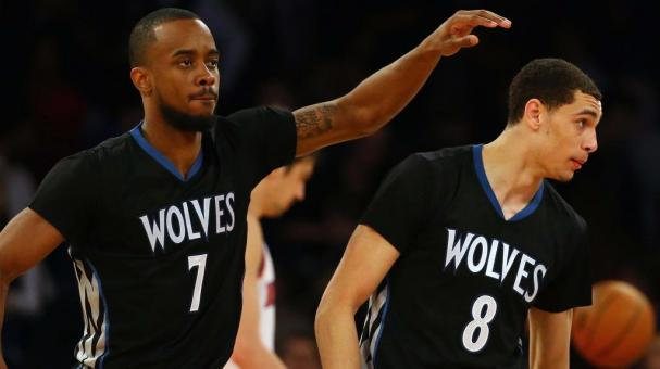 Lorenzo Brown #7 of the Minnesota Timberwolves and Zach LaVine #8 against the New York Knicks during their game at Madison Square Garden on March 19, 2015 in New York City. Getty Images