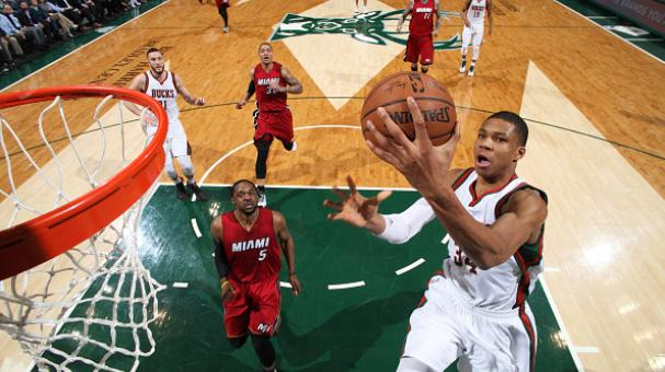 Giannis Antetokounmpo #34 of the Milwaukee Bucks goes up for a shot against the Miami Heat on March 24, 2015 at BMO Harris Bradley Center in Milwaukee, Wisconsin. Getty Images