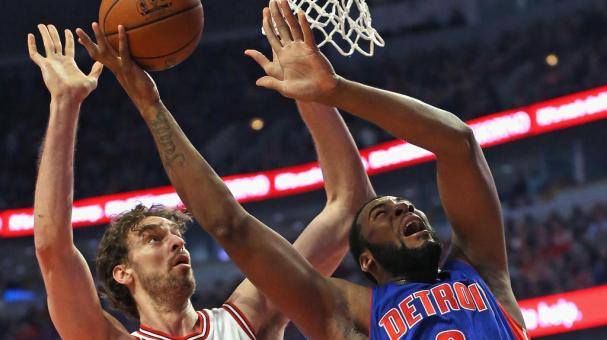 Andre Drummond #0 of the Detroit Pistons gets off a shot in front of Pau Gasol #16 of the Chicago Bulls at the United Center on April 3, 2015 in Chicago, Illinois. Getty Images