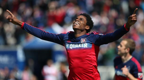 Joevin Jones #3 of the Chicago Fire celebrates a first half goal against Toronto FC during an MLS match at Toyota Park on April 4, 2015 in Bridgeview, Illinois. (Getty Images)