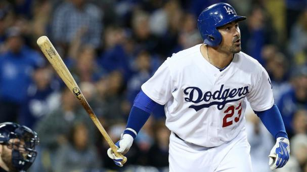 Adrian Gonzalez #23 of the Los Angeles Dodgers watches his third home run of the game, a solo shot in the fifth inning against the San Diego Padres at Dodger Stadium on April 8, 2015 in Los Angeles, California. (Getty Images)