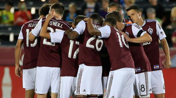 The Colorado Rapids huddle before facing the San Jose Earthquakes at Dick's Sporting Goods Park on September 27, 2014 in Commerce City, Colorado. Getty Images