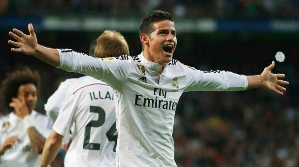 James celebra su gol con el Real Madrid.