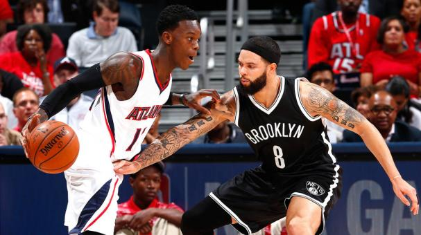 Deron Williams #8 of the Brooklyn Nets defends against Dennis Schroder #17 of the Atlanta Hawks at Philips Arena on April 22, 2015 in Atlanta, Georgia. Getty Images