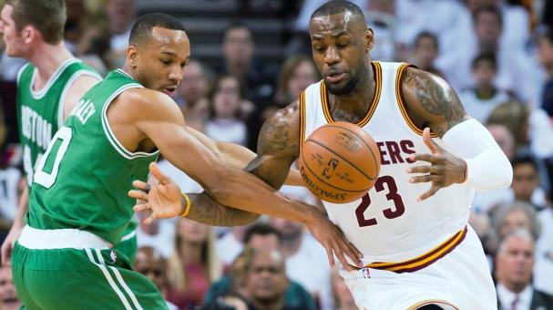 Avery Bradley #0 of the Boston Celtics fights for a loose ball with LeBron James #23 of the Cleveland Cavaliers at Quicken Loans Arena on April 19, 2015 in Cleveland, Ohio. Getty Images