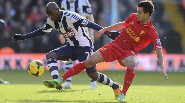 Youssuf Mulumbu of West Bromwich is tackled by Philippe Coutinho of Liverpool during the Barclays Premier League match between West Bromwich Albion and Liverpool at The Hawthorns on February 2, 2014 in West Bromwich, England. (Getty Images)