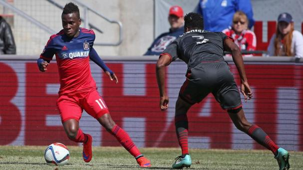 David Accam #11 of the Chicago Fire at Toyota Park on April 4, 2015 in Bridgeview, Illinois. (Photo by Jonathan Daniel/Getty Images