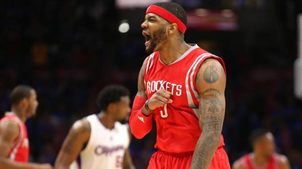 Josh Smith #5 of the Houston Rockets celebrates against the Los Angeles Clippers at Staples Center on May 14, 2015 in Los Angeles, California. Getty Images