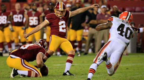 Kicker Kai Forbath #2 of the Washington Redskins kicks an extra point against the Cleveland Browns during a preseason game at FedExField on August 18, 2014 in Landover, Maryland. (Photo by Rob Carr/Getty Images)