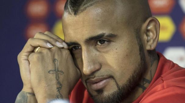 Arturo Vidal of Chile looks on during a press conference a day before the opening match of 2015 Copa America Chile between Chile and Ecuador at Nacional Stadium on June 10, 2015 in Santiago, Chile. (Getty Images)