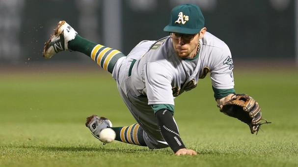 Eric Sogard #28 of the Oakland Athletics at Fenway Park on June 5, 2015 in Boston, Massachusetts. (Getty Images)