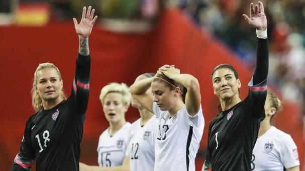 Players of USA celebrate their victory after a FIFA Women's World Cup 2015 semifinal match between USA and Germany at Montreal Olympic Stadium on June 30, 2015 in Montreal, Canada. (Getty Images)