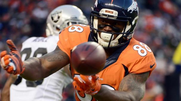 Demaryius Thomas (88) of the Denver Broncos drops a pass missing a touchdown in the third quarter at Mile High in Denver on December, 28 2014. (Getty Images)