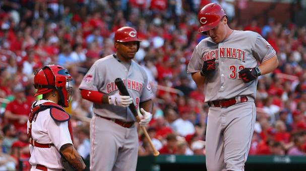 Jay Bruce #32 of the Cincinnati Reds crosses home plate after hitting a solo home run against the St. Louis Cardinals in the second inning at Busch Stadium on July 29, 2015 in St. Louis, Missouri. (Getty Images)