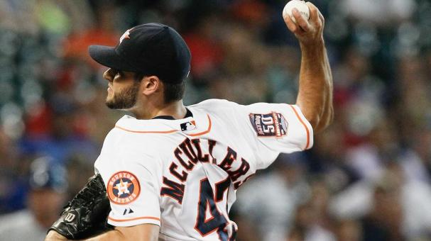 Lance McCullers #43 of the Houston Astros throws in the second inning against the Kansas City Royals at Minute Maid Park on June 29, 2015 in Houston, Texas. (Photo by Bob Levey/Getty Images)