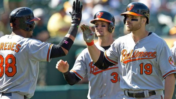 Chris Davis #19 of the Baltimore Orioles is congratulated by Jimmy Paredes #38, Caleb Joseph #36, Gerardo Parra #18 and Manny Machado #13 at O.co Coliseum on August 5, 2015 in Oakland, California. (Getty Images)