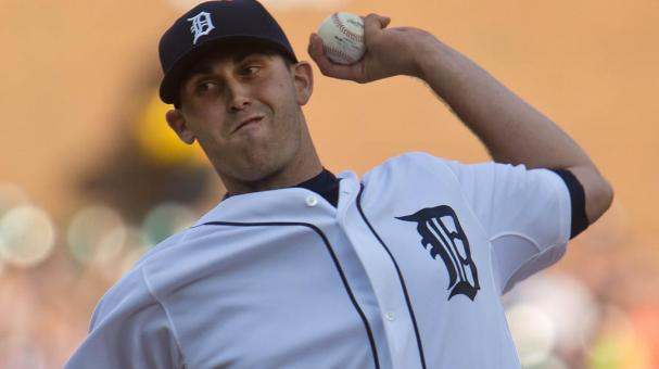 Starting pitcher Matt Boyd #48 of the Detroit Tigers throws in the first inning against the Kansas City Royals at Comerica Park on August 5, 2015 in Detroit, Michigan.(Photo by Dave Reginek/Getty Images)