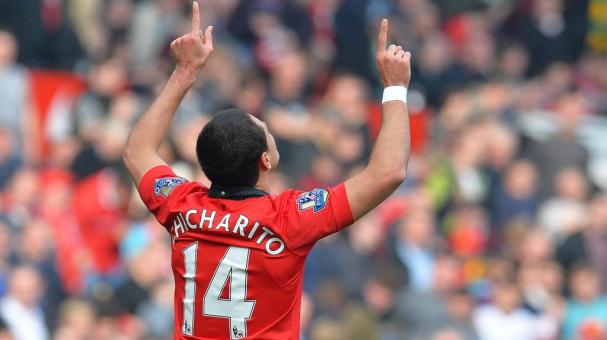 Chicharito Hernandez of Manchester United celebrates at St James' Park on April 5, 2014 in Newcastle upon Tyne, England. (Photo by John Peters/Man Utd via Getty Images)