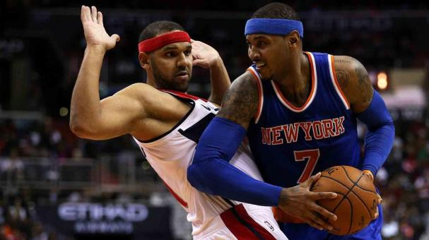 Carmelo Anthony #7 of the New York Knicks tries to get past Jared Dudley #1 of the Washington Wizards during the first half at Verizon Center on October 31, 2015 in Washington, DC. Getty Images