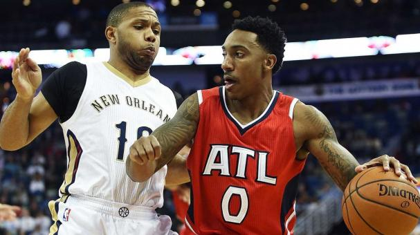 Jeff Teague #0 of the Atlanta Hawks drives around Eric Gordon #10 of the New Orleans Pelicans. Getty Images